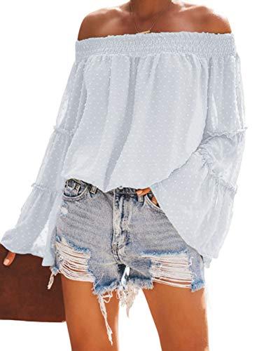 KIRUNDO Women's Tops Summer Chiffon Off The Shoulder Tops Swiss Dot 3/4 Bell Sleeves Casual Blouse Cute Ruffle Tunic Top (Small, White)