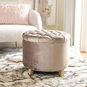 "The pickled oak finish and mink brown upholstery of this storage ottoman will give your home a chic accent This ottoman features storage space measuring 16"" in diameter and 11.25"" deep Crafted of sturdy oak and upholstered in a cotton and viscose ble..."