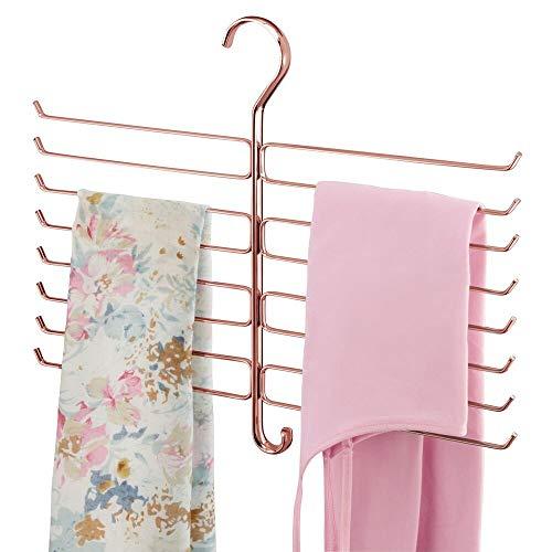 mDesign Percha organizadora para mallas y pañuelos – Organizador de accesorios para ahorrar espacio en el armario – Colgador de pantalones de yoga con 16 ganchos de alambre metálico – dorado rojizo