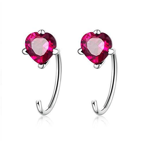 Nuevos Pendientes románticos de Plata de Ley 925 con Forma de Latido del corazón, Rosa, Rojo, CZ, Pendientes para Mujer, joyería de Plata de Moda