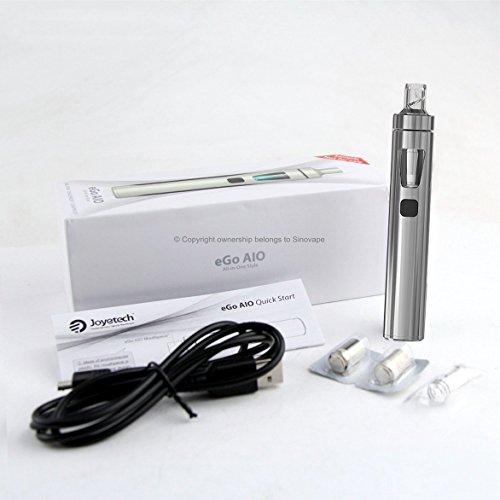 Joyetech eGo AIO (All-In-One) Kit de Inicio/E-Cigarette - Batería Recargable de 1500mAh, 2 ml 'Cubis' A Prueba de Fugas Clearomizer Atomizador - Seguro Para Niños. (Plateado)