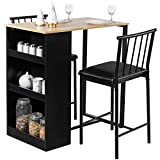 Giantex 3 Piece Pub Dining Set, Wooden Counter Height Table Set with 2 Bar Stools, Industrial Bar Table Set w/Storage, Sturdy Kitchen Table for Kitchen, Restaurant, Living Room (Natural)
