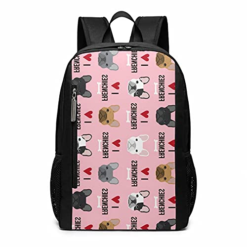 Pink Heart Dog Cute Funny French Bulldog Fawn Painting Art Stylish Large Backpack College Adjustable Office Climbing Yoga Beach For Men Women
