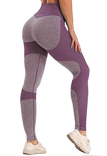 FITTOO Leggings Sin Costuras Mujer Pantalon Deportivo Alta Cintura Yoga Elásticos Fitness Seamless #1 Morado Medium