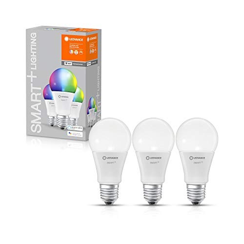 LEDVANCE Smarte LED-Lampe mit WiFi Technologie, Sockel E27, Dimmbar, Lichtfarbe änderbar (2700-6500K), RGB Farben änderbar, ersetzt Glühlampen mit 75 W, SMART+ WiFi Classic Multicolour, 3er-Pack
