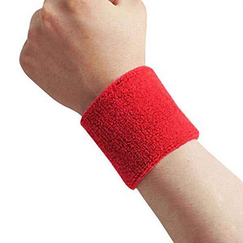 Aiming 1x Unisex Tessuto di spugna di cotone Sweatband Sports Wrist Tennis Yoga sudore WristBand rosso