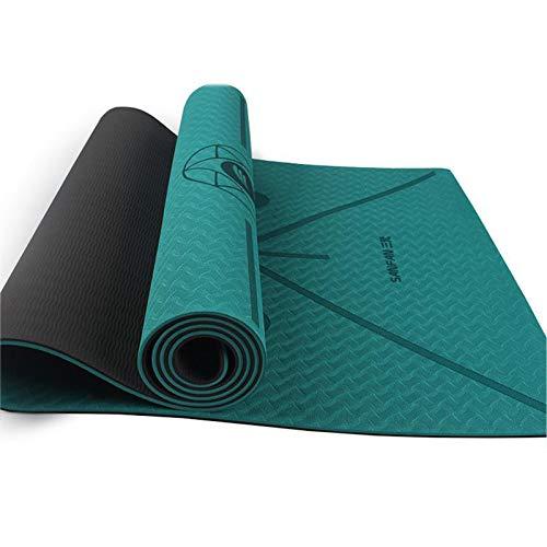 WXHXSRJ Esterilla de yoga, antideslizante, respetuosa con el medio ambiente, para el hogar, gimnasio, pilates, para mujeres y hombres (1830 x 660 x 8 mm), verde + gris oscuro