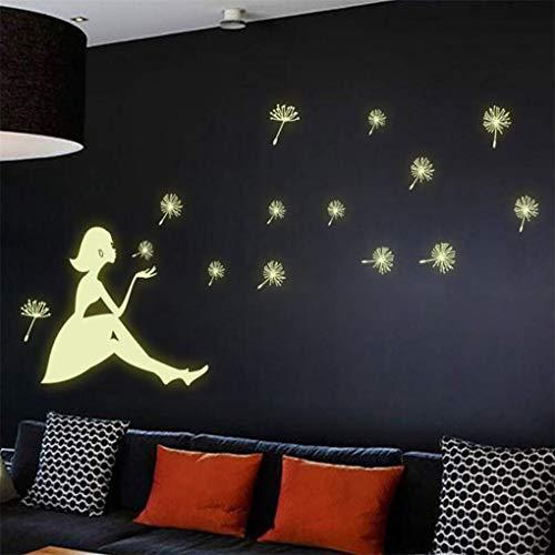 Fliyeong Pegatinas fluorescentes de Navidad para pared, diseño de diente de león con forma de chica oscura, luminoso, decoración de techo, duradero y útil