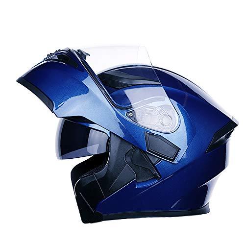 MOTUO Cascos modulares Casco Integral Casco para Motocicleta con Doble Visera Scooter Casco de Moto para Hombres y Mujeres,Azul,M