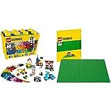 LEGO Classic - Caja de Ladrillos creativos Grande, Set de Construcción con Ladrillos de Colores + Base de Color Verde, Juguete de Construcción Que Mide 25 centímetros de Lado