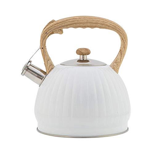 CSPone - Hervidor de agua silbato para cocina de gas, gran capacidad, 3,5 L, forma de calabaza, mango de madera, color blanco
