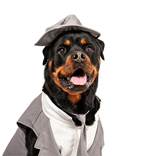 Midlee Dog Tuxedo Wedding Suit- Gray Top Hat & Leash (X-Large)