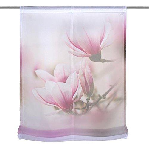 Home Wohnideen Raffrollo Voile Digitaldruck Magnene 1 teilig 140 x 80 cm Rose