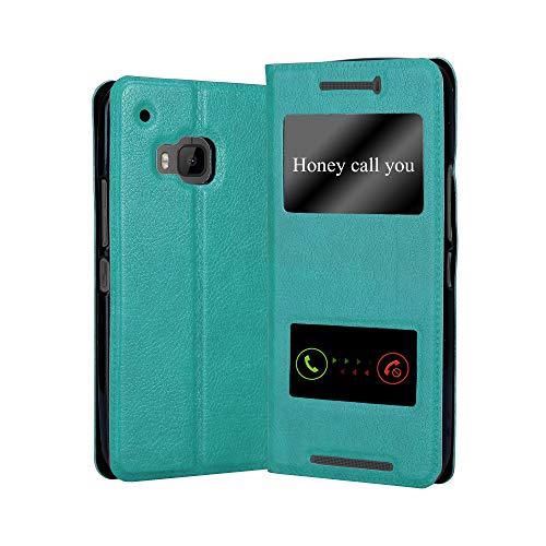 Cadorabo Funda Libro para HTC One M9 en Turquesa Menta - Cubierta Proteccíon con Cierre Magnético, Función de Suporte y 2 Ventanas- Etui Case Cover Carcasa