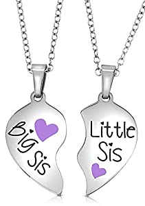 SISTERS NECKLACE SET: She's your sister, your best friend and she's always there for you. These two heart halves fit together to form one piece, just like the unique bond shared between big sister and little sister. Perfect present for best sister ev...