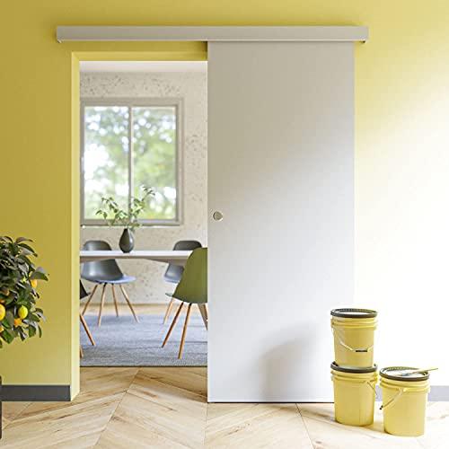 Coulicool - Porte coulissante blanche prépeinte plane 83cm + un Kit comprenant le rail et l habillage rail (assorti au décor de la porte coulissante) - Haut.204 x Larg.83 x Ep.4 cm