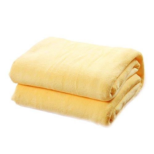 WINOMO Kuscheldecke Polyester Decke Tagesdecke Wohndecke weich Bettdecke für Sofa Bett Auto (Gelb)