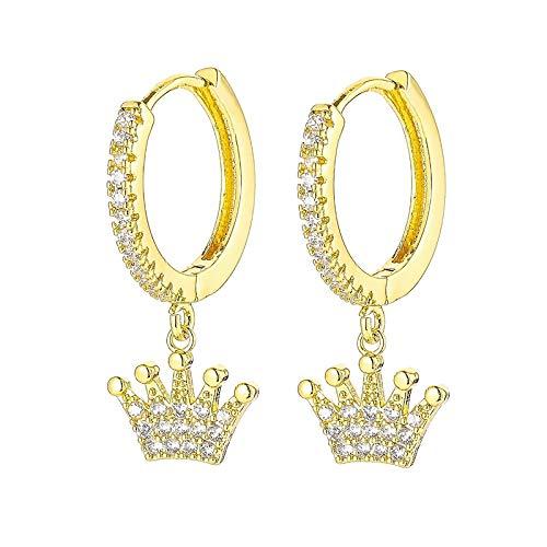 HoopsEarringsForWomen,Golden Zirconia Crown Drop Pierced Earrings Hypoallergenic Lightweight Hoop Ring Circle Jewelry Earrings For Women Girls Party Wedding