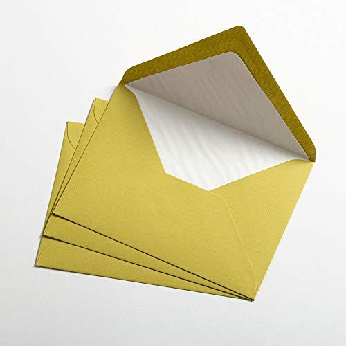 50 Briefhüllen, 125 x 176 mm, DIN B6, Pistaziengrün, geripptes Papier, Verschluss nassklebend