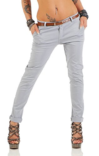 Fashion4Young Damen Skinny Chino Pant Hautenge Treggings Stretch-Stoff Damenhose mit Gürtel (S=36, 11206-grau)