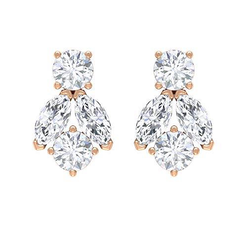 Pendientes de tuerca de diamante de 1/4 CT para mujer (calidad AAA), rosca trasera, Metal, Diamond,