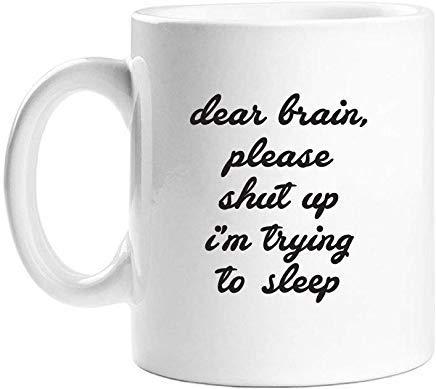 Queen54ferna Beste Hersenen Gelieve Shut Up Ik probeer te slapen Wit Nieuwigheid Koffie Mokken Keramische Thee Cup 11 Oz Mok, Verjaardag Mok, Cadeaus voor Mama, voor Pa, voor Meisjes