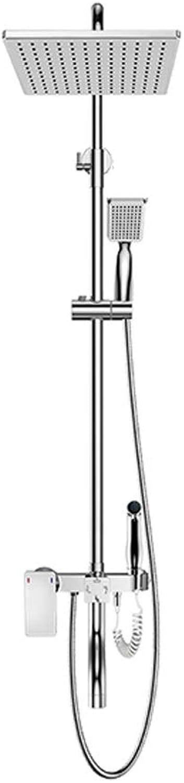 Badezimmer Dusche-Set Dusche Dusche Hause Kupfer Bad Quadrat Thermostat Edelstahl Dusche Dusche Set Silber 113  19.8CM