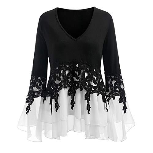 SEXOX Womens Long Sleeve T Shirt Tie Ruffled V Neck Tops Contrast Shirt Blouses Drawstring