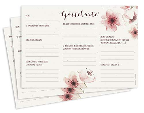 CherryCards 25er Set Gästekarten Gästebuchkarten zum Ausfüllen A5 Buch Alternative Spiel für...
