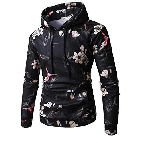 Men's Pullover Casual Flower Print Hooded Sweatshirt Autumn Winter Long Sleeve Jacket Outwear Tops