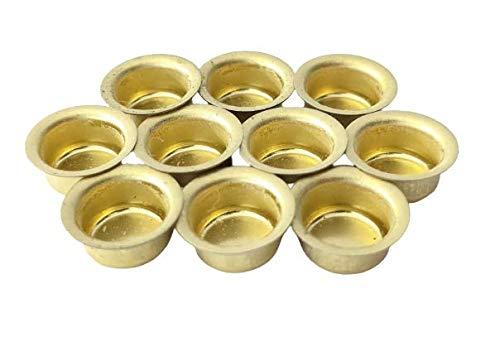 10er Set Kerzentüllen aus Metall, Gold, 10mm., Kerzeneinsatz, Kerzenhalter für Baumkerzen, Tafelkerzen und Teelichter