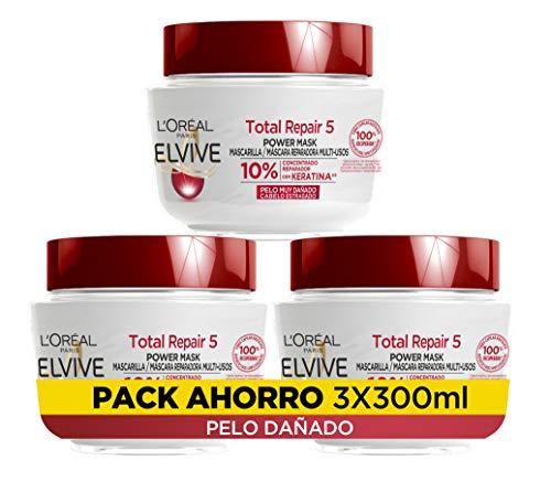 L Oréal Paris Elvive Total Repair 5 Mascarilla Reparadora, pack de 3 unidades x 300 ml, total 900 ml
