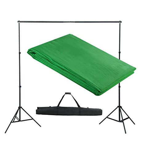 vidaXL ALU Foto Studio Set Hintergrundsystem Hintergrund 3x3 m Grün Fotostudio