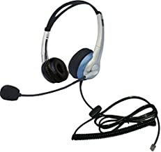 Voistek Corded Binaural Call Center Telephone Headset RJ9 Headphone with Mic Noise Cancelling for Aastra Polycom Mitel Office Landline Phones and Call Center (K20)