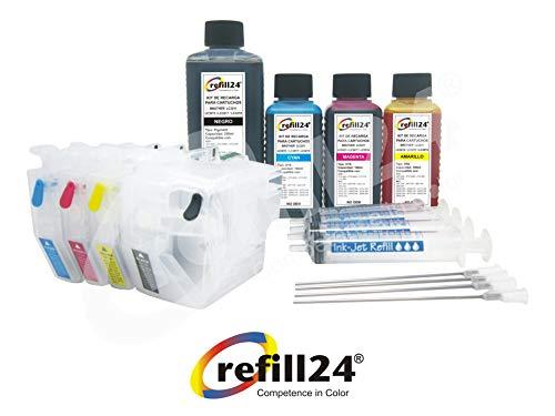 Cartuchos Recargables, Compatible para Brother LC3217, LC3219 Negro y Color. Incluye Accesorios + 550 ML de Tinta
