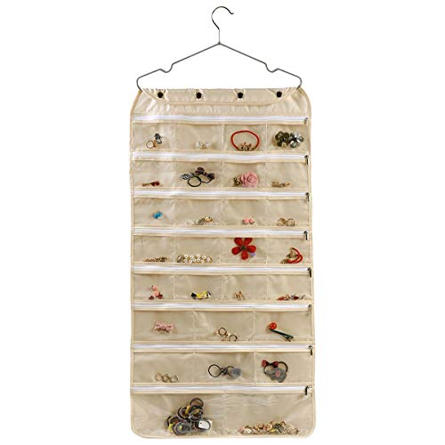 ComboCube Beige Oxford Dual Side 60 Zippered Pockets Hanging Jewelry Organizer(Hanger Included)(Oxford Beige)