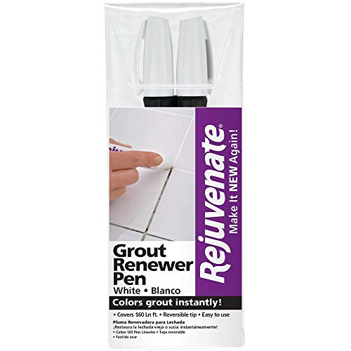 Rejuvenate White Grout Restorer Marker Pens Restore and Renew Dingy Stained Grout in Minutes 2 Units Pack