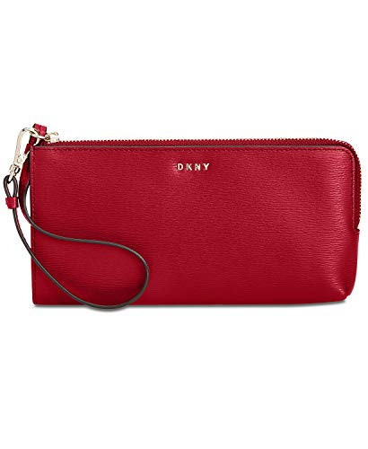 DKNY Women's Bryant Zip Leather Wristlet Pouch Wallet Red