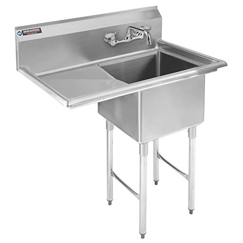 Stainless Steel Kitchen Sink with Faucet - DuraSteel 1 Compartment Commercial Utility Sink w/Left Drainboards - 18' x 18' x 12' Bowl Size - for Restaurant, Laundry, Garage & Backyard - NSF Certified