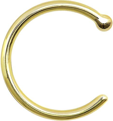 Body Candy Unisex Adult Solid 14k Yellow Gold Nose Stud Hoop 3 8 18 Gauge Body Piercing product image