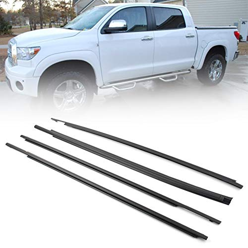 GZYF 4PCS Door Outside Weather Stripping Trim,Window Weatherstrip Seal Belt Moulding Trim Compatible with Toyota Tundra CrewMax 2007 2008 2009 2010 2011 2012 2013 2014 2015 2016 2017 2018 2019