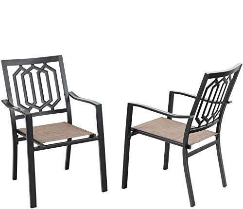 PHI VILLA Metal Patio Outdoor Dining Chairs Set of 2,Bistro Sling Mesh Deck Chairs for Garden Lawn Backyard Support 300LB, Brown…
