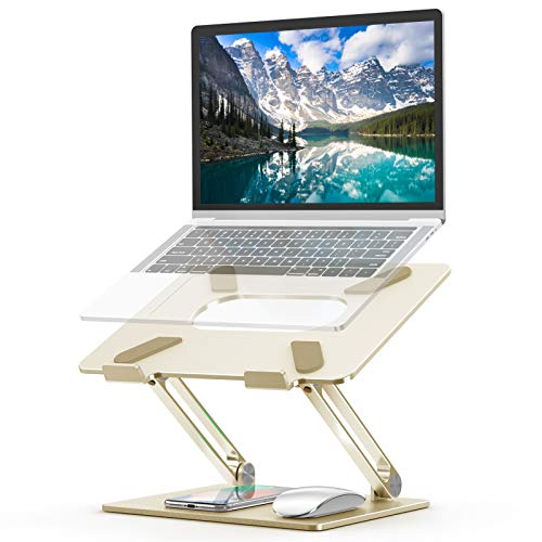 Laptop Stand, Ergonomic Adjustable Notebook Stand, Aluminum Portable Computer Riser with Heat-Vent Foldable Desktop Laptop Holder Compatible with MacBook Air Pro, All 10 to 17 Inch Laptops(Gold)