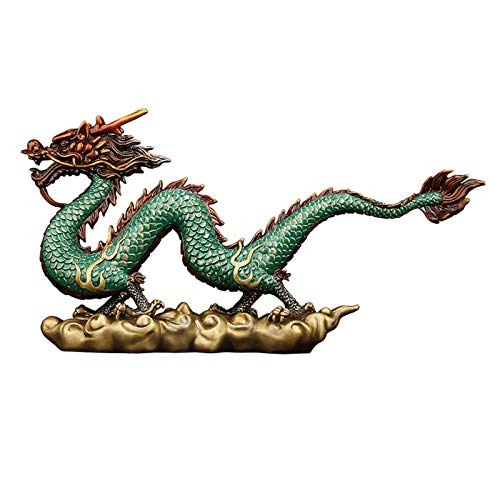 NYKK Estatuas de Feng Shui Bronce Feng Shui Sculpture Zodiac Dragon Statue Home Office Tabla Top Decoración Estatuilla Regalo Colección Estatua de Riqueza (Size : Large)