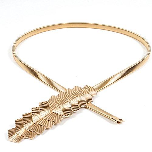 Herebuy - Fashion Belts for Women Gold Skinny Waist Belt for Dress