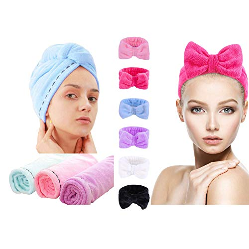 3 Pack Microfiber Hair Towel Wrap Super Absorbent Twist Turban Fast Drying Hair Caps+ 6 Pack Soft Headband Makeup Spa Wash Face
