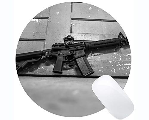 Gaming Round Mouse Pad Custom,Gun Assault Rifle Round Mouse Pad with Stitched Edge