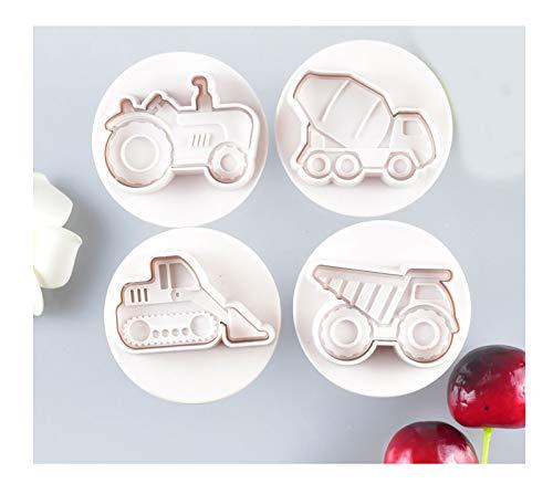 GYAM 4 Moldes para Galletas, Carro De Transporte De Plástico Molde para Hornear Pasteles De Chocolate, Juguetes para Niños Manualidades Fiestas Navideñas