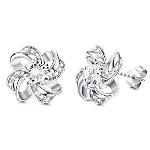 Sllaiss 925 Sterling Silver Cubic Zirconia Stud Earrings Celtic Love Knot Earrings 10mm Endless Flower Earrings for Women for Anniversary