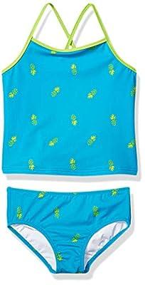 Amazon Essentials Girl's 2-Piece Tankini Set, Aqua Pineapples, Small